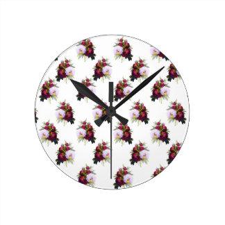 Pretty Peonies Pattern Round Clock
