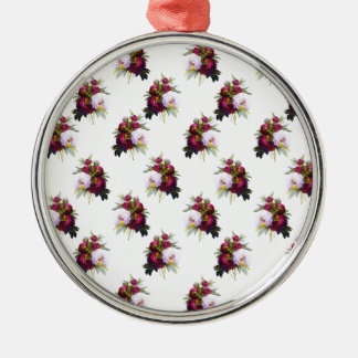 Pretty Peonies Pattern Silver-Colored Round Ornament