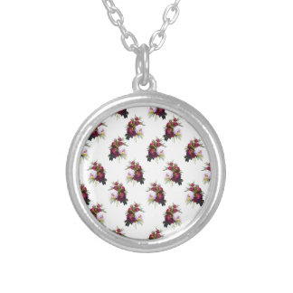 Pretty Peonies Pattern Silver Plated Necklace