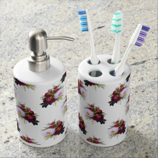 Pretty Peonies Pattern Soap Dispenser And Toothbrush Holder
