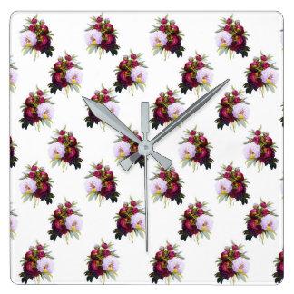 Pretty Peonies Pattern Square Wall Clock