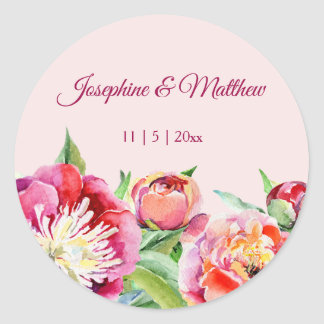 Pretty Peonies Watercolor Floral Wedding Stickers