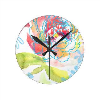 Pretty Peony Round Clock