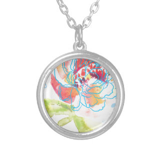 Pretty Peony Silver Plated Necklace