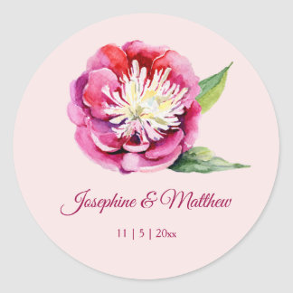 Pretty Peony Watercolor Wedding Stickers