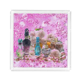 Pretty Perfume Bottles & Roses Pink Bokeh Bling Acrylic Tray
