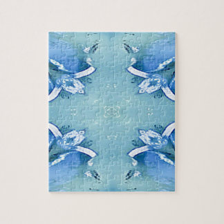 Pretty Personalizable Shades of Blues Jigsaw Puzzle
