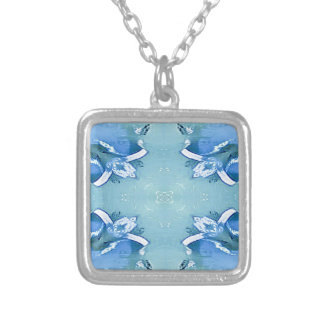 Pretty Personalizable Shades of Blues Silver Plated Necklace