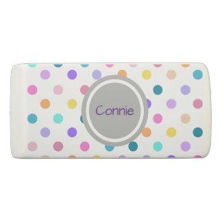 Pretty personalized confetti polka dots eraser