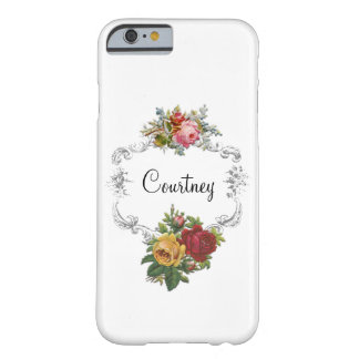Pretty Personalized French Roses and Elegant Frame Barely There iPhone 6 Case