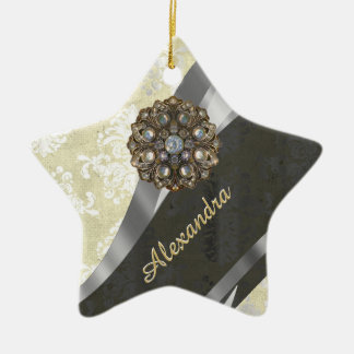 Pretty personalized girly cream damask pattern ceramic star ornament