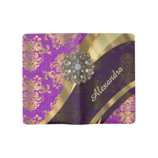 Pretty personalized girly purple damask patten large moleskine notebook