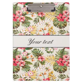 Pretty Personalized Hibiscus Pattern Clipboards