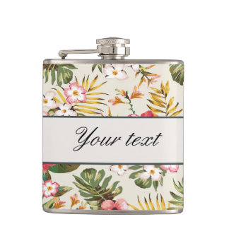 Pretty Personalized Hibiscus Pattern Flasks
