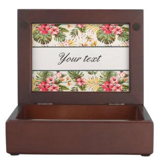 Pretty Personalized Hibiscus Pattern Keepsake Box