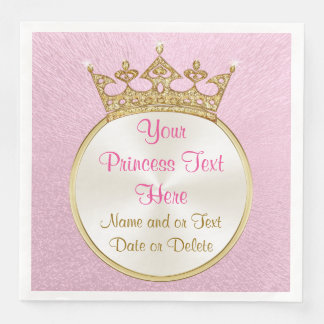 Pretty Personalized Pink and Gold Princess Napkins Disposable Napkin