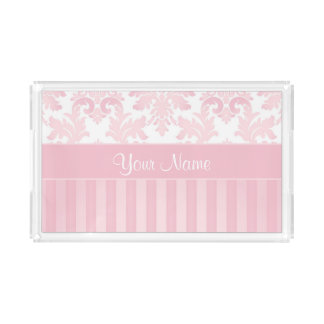 Pretty Personalized Pink Damask and Stripes Acrylic Tray