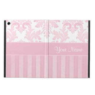 Pretty Personalized Pink Damask and Stripes Cover For iPad Air