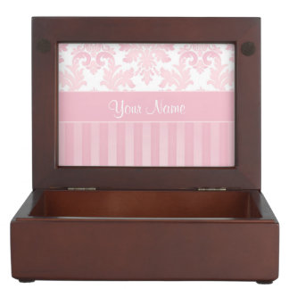 Pretty Personalized Pink Damask and Stripes Keepsake Box
