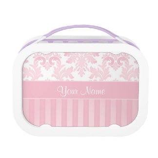 Pretty Personalized Pink Damask and Stripes Lunch Box