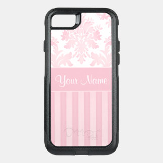 Pretty Personalized Pink Damask and Stripes OtterBox Commuter iPhone 8/7 Case