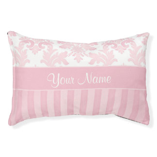 Pretty Personalized Pink Damask and Stripes Pet Bed