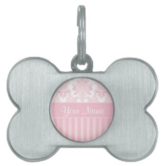 Pretty Personalized Pink Damask and Stripes Pet Tag