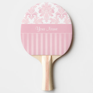 Pretty Personalized Pink Damask and Stripes Ping Pong Paddle