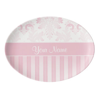 Pretty Personalized Pink Damask and Stripes Porcelain Serving Platter