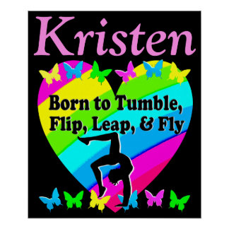 PRETTY PERSONALIZED RAINBOW GYMNASTICS POSTER