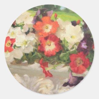 Pretty Petunias by Margaret Aycock Designs Round Sticker
