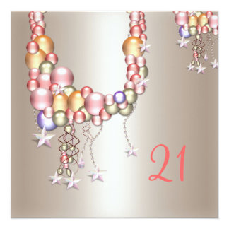 Pretty Pewter Peach Pearls Stars 21st Birthday Card