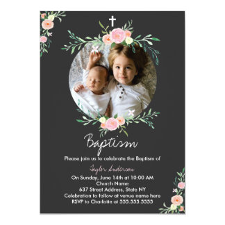 Pretty Photo Floral Wreath Baptism Invitation