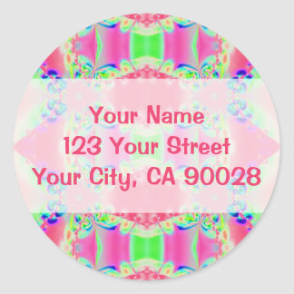 pretty pink abstract classic round sticker