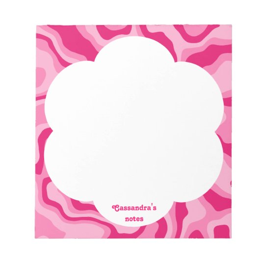 Pretty pink abstract pattern to personalize notepad