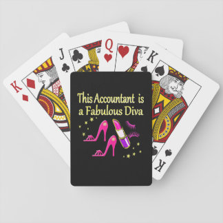 PRETTY PINK ACCOUNTANT DIVA DESIGN PLAYING CARDS