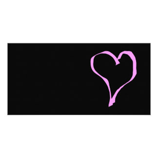 Pretty Pink and Black Love Heart Customized Photo Card