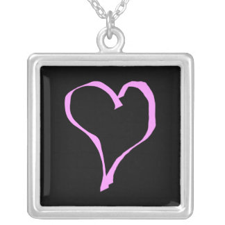Pretty Pink and Black Love Heart. Square Pendant Necklace