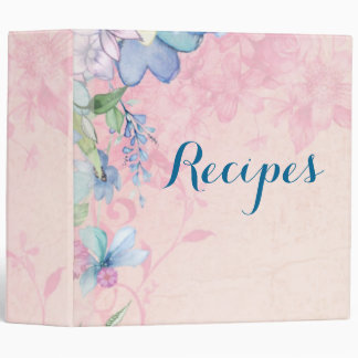 Pretty Pink and Blue Floral Recipes 3 Ring Binder