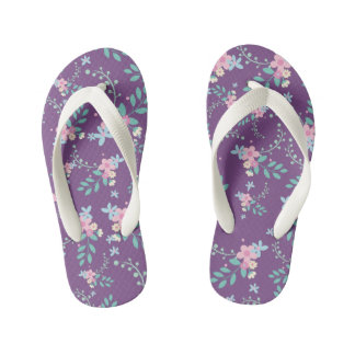 Pretty pink and blue flowers kid's flip flops