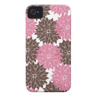 Pretty Pink and Brown Flower Blossoms Floral Print iPhone 4 Case-Mate Cases