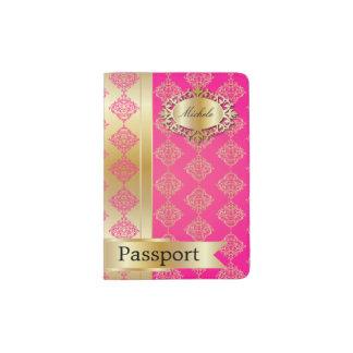 Pretty Pink and Gold Damask Pattern Passport Holder