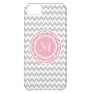 Pretty Pink and Gray Chevron Monogram iPhone 5C Cover