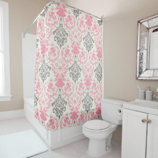 Pretty Pink and Gray Two-Tone Damask