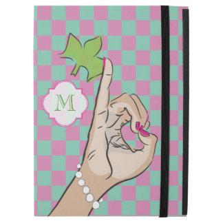 "Pretty Pink and green checker iPad Pro 12.9"" Case"