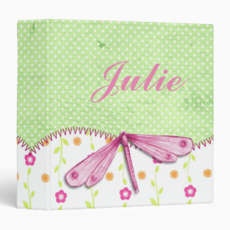 Pretty Pink and Green Floral with Dragonfly Binder