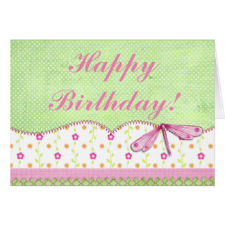 Pretty Pink and Green Floral with Dragonfly Card