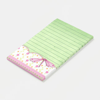 Pretty Pink and Green Floral with Dragonfly Post-it Notes