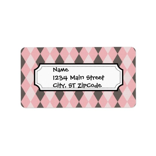 Pretty Pink and Grey Argyle Diamond Pattern Gifts Label