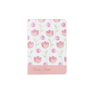 Pretty Pink and Lavender Floral Passport Holder